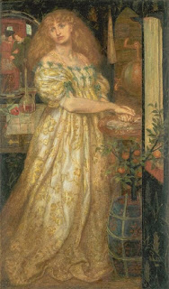 Portrait of Lucrezia Borgia by Dante Gabriel Rossetti, while her gaze is directed at the viewer inside of mirror, circa 1861