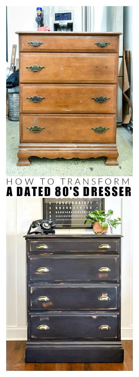 Before and after 80's dresser makeover