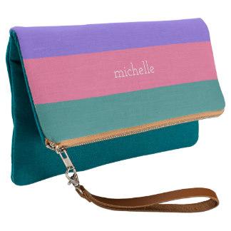 Gifting Clutches for Mom - Stripes Pattern custom monogram clutch bag