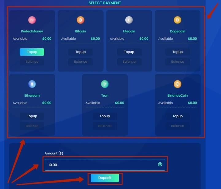 Пополнение баланса в Bitneo 3