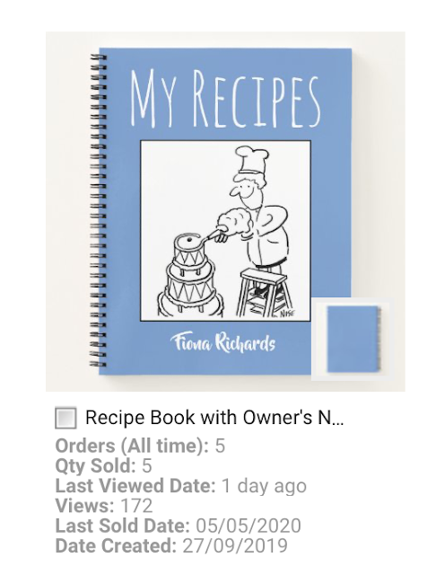Recipe book has a cartoon cover showing a cook up a stepladder icing a wedding cake.