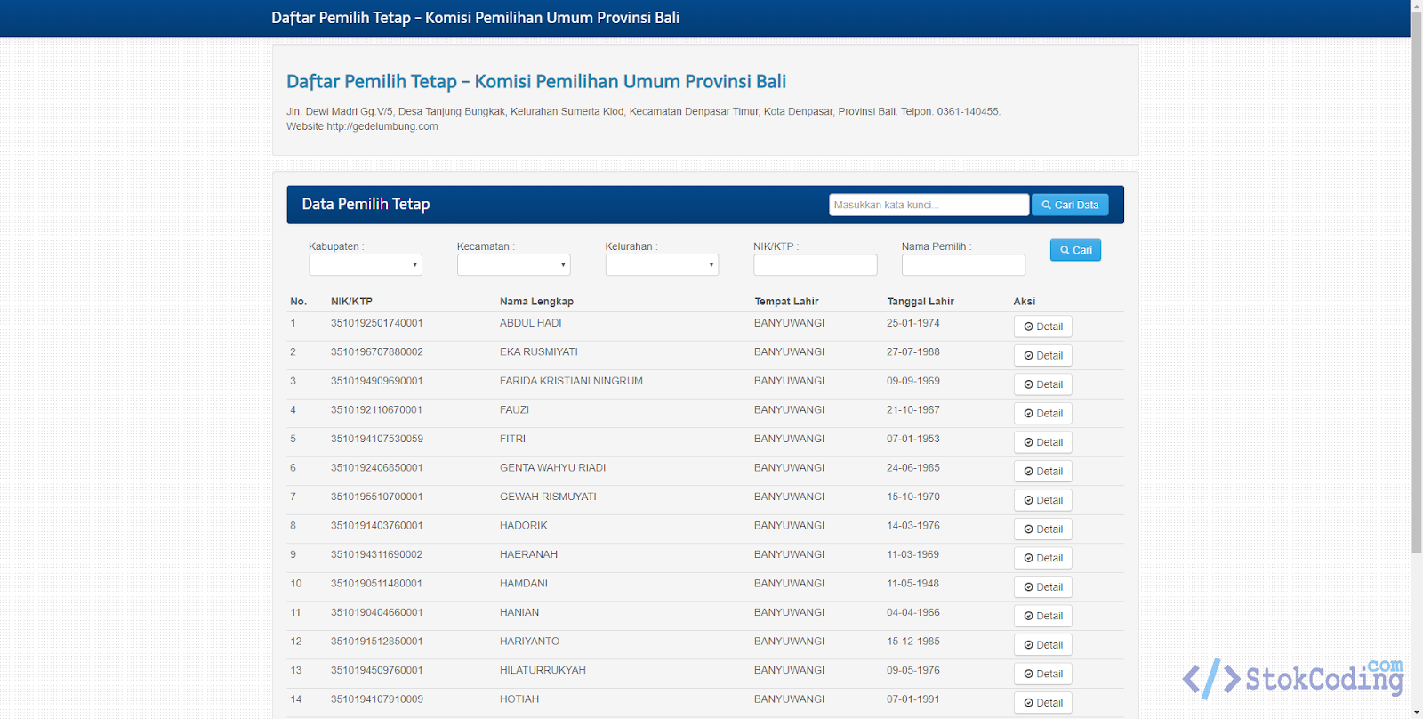 Aplikasi Managemen Data Pemilih Tetap KPU (Codeigniter)