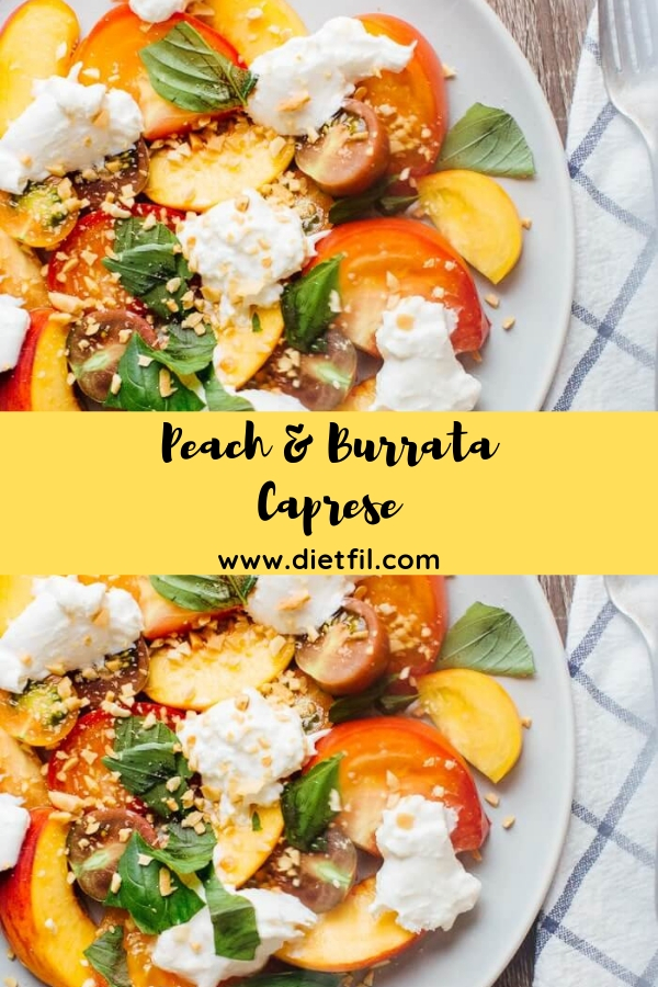 Peach & Burrata Caprese #appetizer #salad