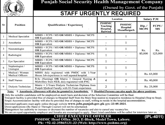 New Jobs in Punjab Social Security Health Management Company PSSHMC 2021