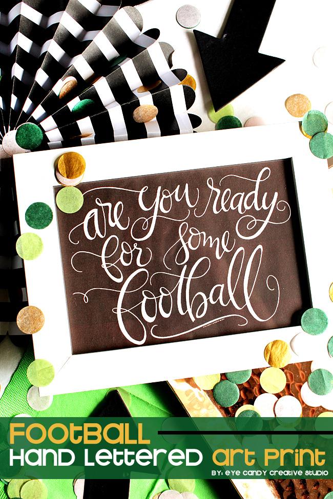 hand lettering, football art print, football art, football party decor
