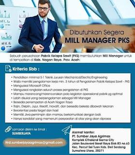 Mill Manager PKS di PT Sumber Jaya Agrimas