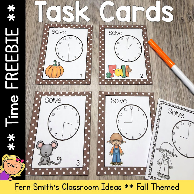 Fall Themed Time Task Cards - Teaching Time to the Hour and Half-Hour Task Cards Freebie