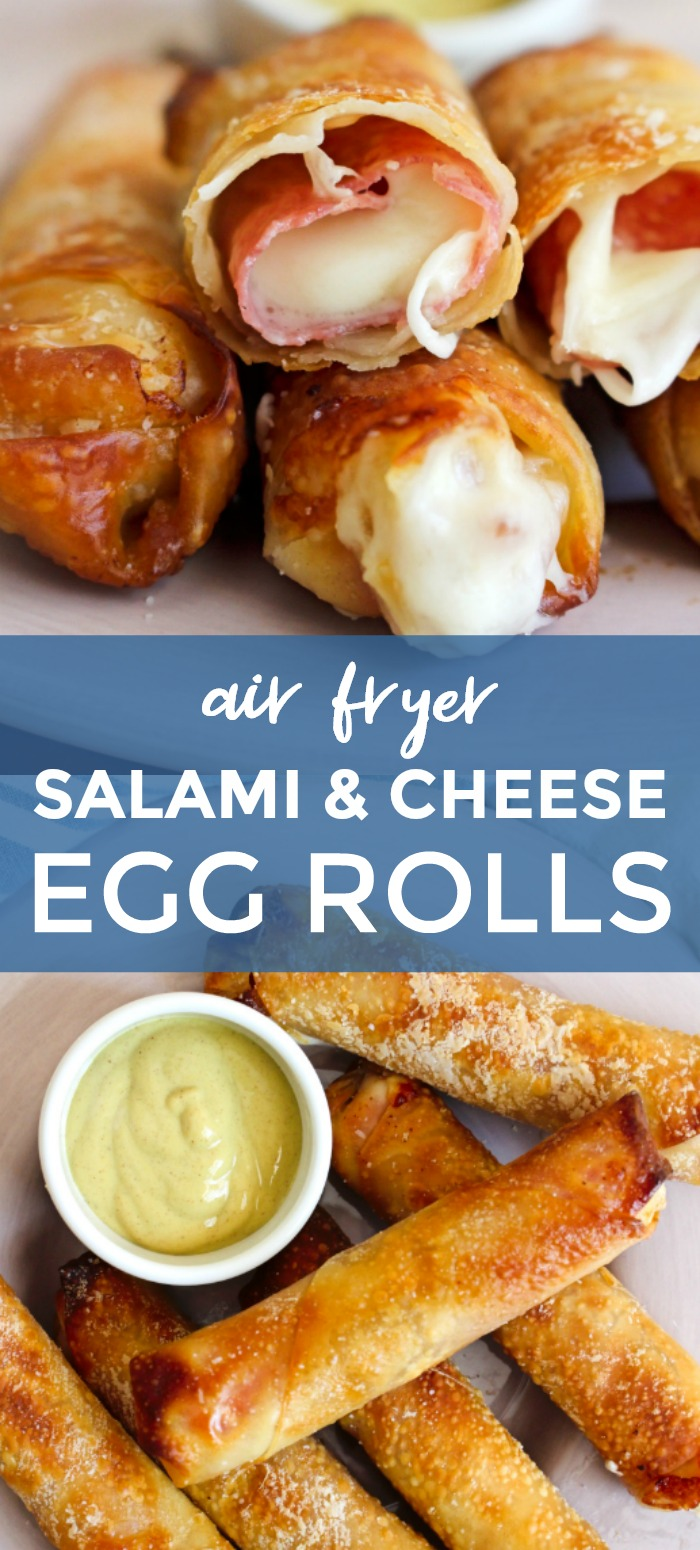 Salami and Cheese Egg Rolls cooked in your air fryer have a crispy egg roll wrapper shell filled with melty mozzarella cheese wrapped in Genoa salami. Dip them in mustard or marinara! #eggrolls #appetizer #mozzarellasticks