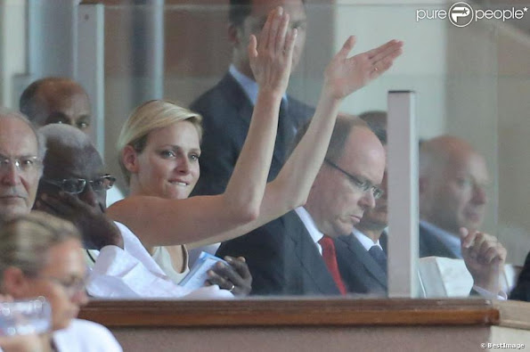 Princess Charlene of Monaco attended Herculis meeting at the Louis II Stadium in Monaco