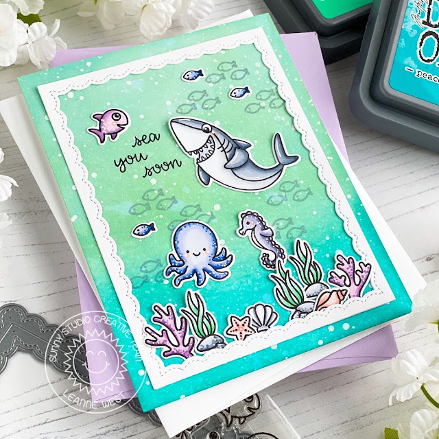 Sunny Studio Stamps: Sea You Soon Magical Mermaids Fancy Frame Dies Summer Themed Card by Leanne West