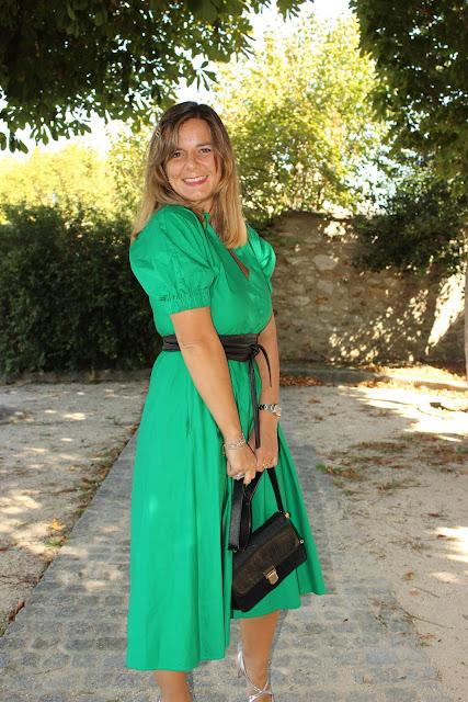 sandales mi mai, robe zara verte, look du jour, les petites bulles de ma vie