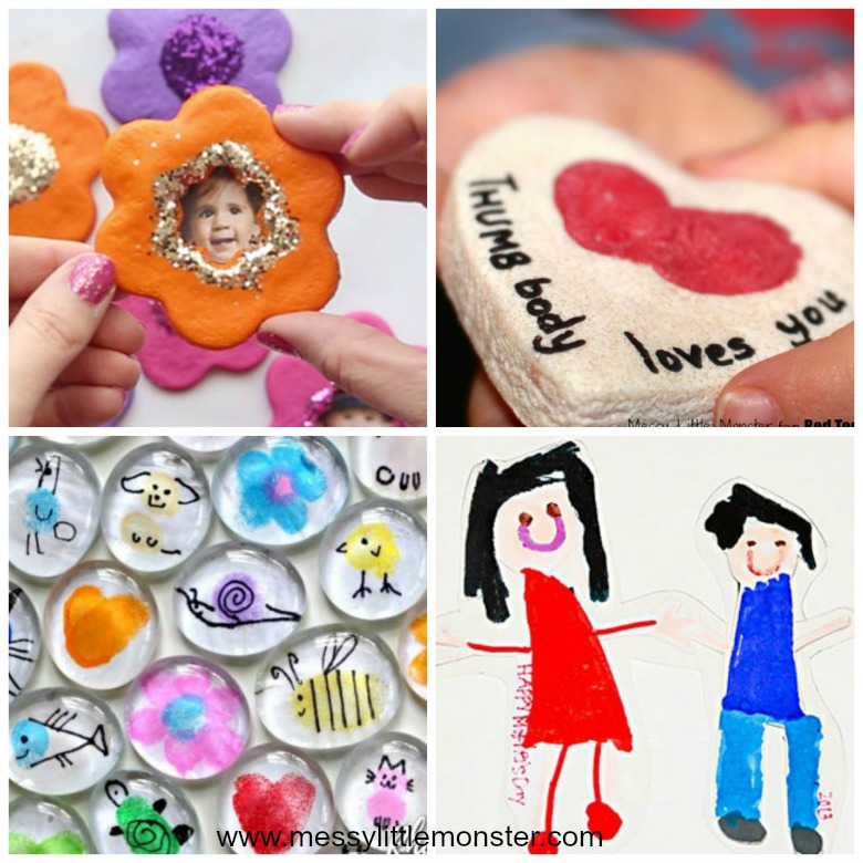 Homemade gifts for mom from kids - easy diy magnet gift ideas that kids can make.