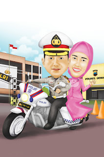 Karikatur Couple Polisi Naik Moge
