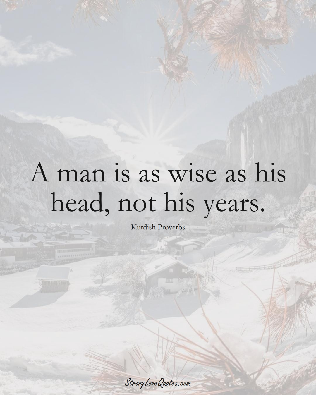 A man is as wise as his head, not his years. (Kurdish Sayings);  #aVarietyofCulturesSayings