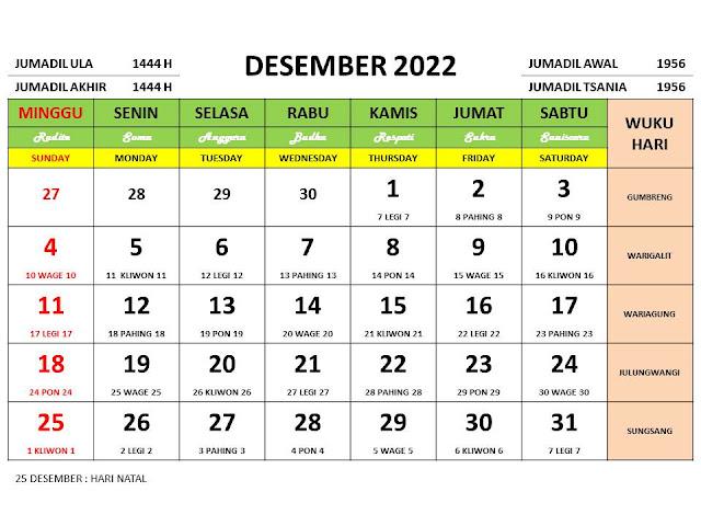 Kalender Bulan Desember 2022 dan Hari Peringatannya