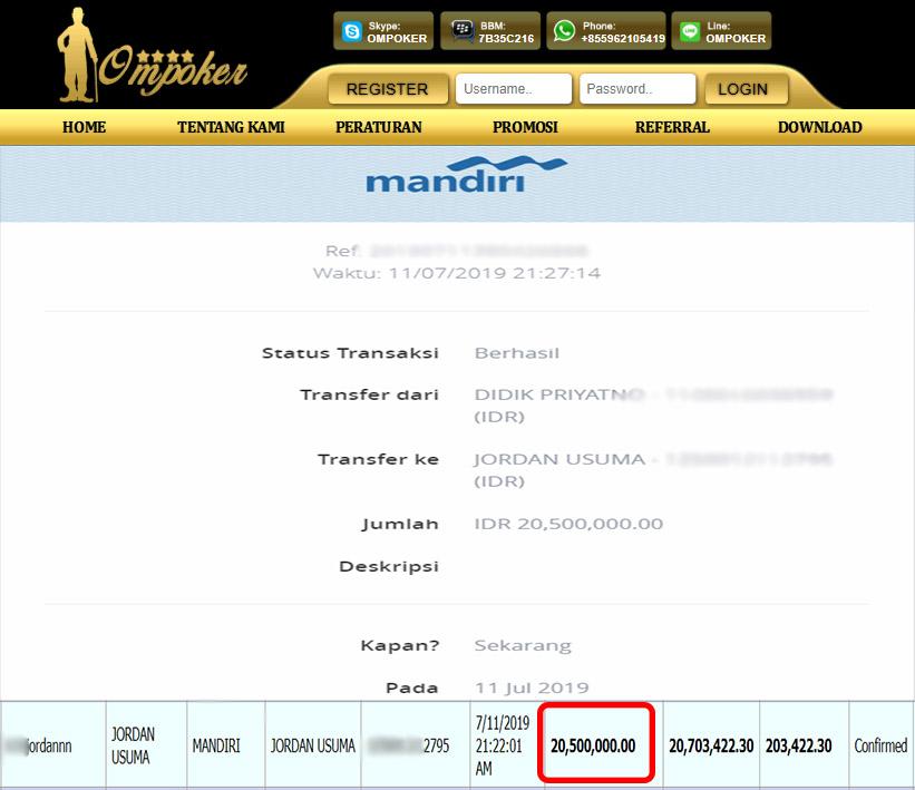 Selamat Kepada Member Setia Ompoker WD Rp 20.500.000
