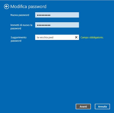 modifica password