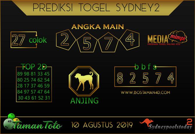 Prediksi Togel SYDNEY 2 TAMAN TOTO 10 AGUSTUS 2019