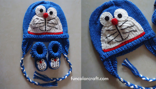Baby Hat Knitted Pattern - Doraemon