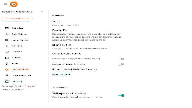 Como Configurar el Titulo y la Descripción de Blogger