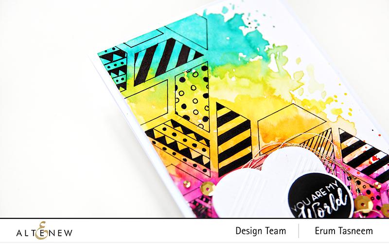 Altenew Colour Block Triangle Stencil | Erum Tasneem | @pr0digy0