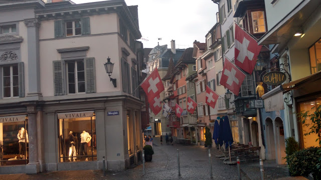 An empty street in Zurich's shopping district @ 8 PM