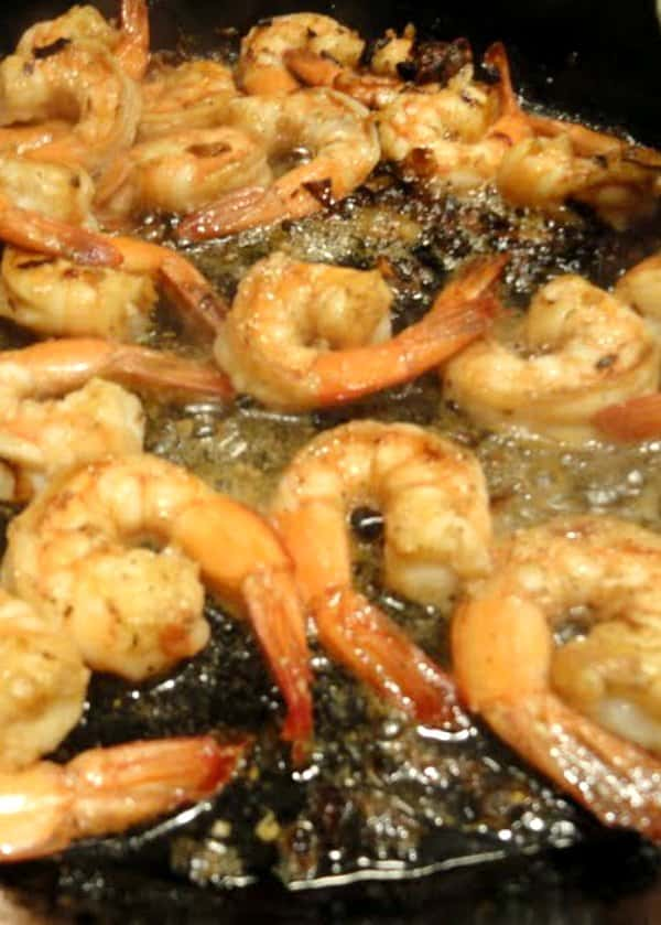 Cooked Pink Shrimp for Shrimp Scampi Recipe.