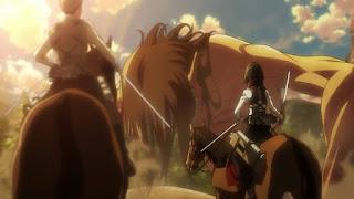 Mikasa obok Erena w formie tytana