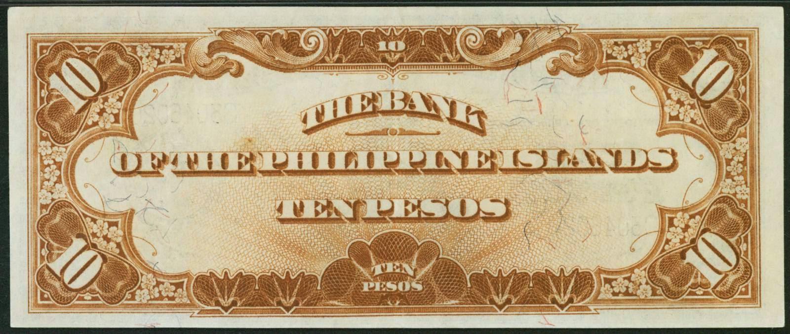 1920 Ten Pesos Bank Of The Philippines Islands