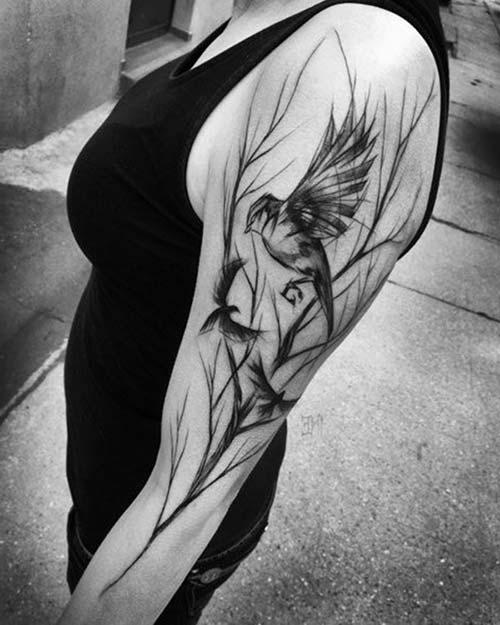 kuş kadın kol dövmeleri bird arm tattoo for woman