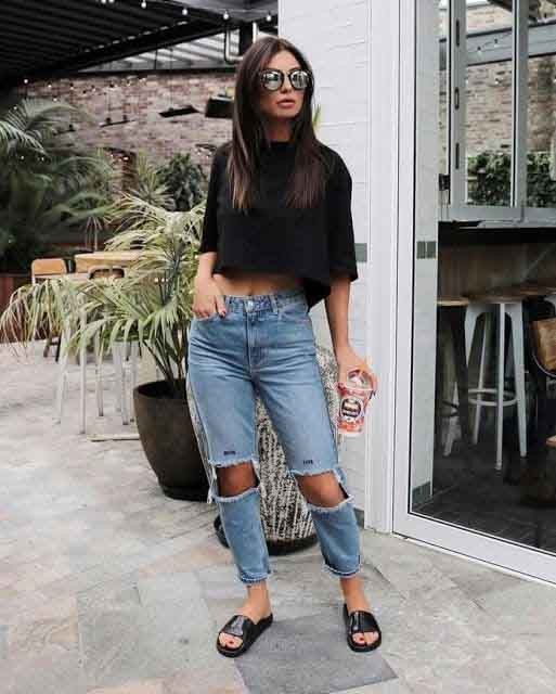 Calça jeans destroyed no verão