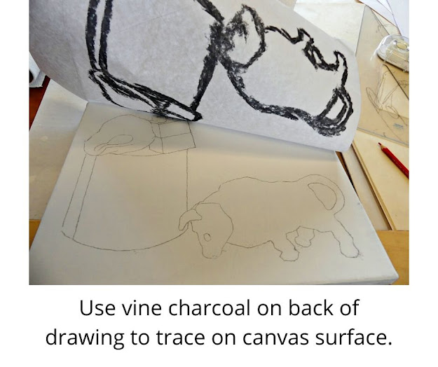 Vine charcoal for tracing drawing onto canvas.