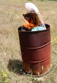 Household rubbish burnt