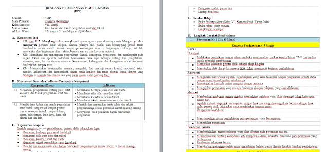 RPP PRAKARYA Semester 2 Kurikulum 2013 SMP Kelas 7  | PRAKARYA Kelas 7