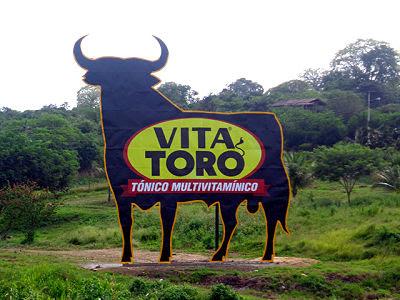 cartel de VITA TORO en ecuador, como el toro de OSBORNE