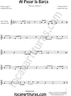 Soprano Sax y Saxo Tenor Partitura de Al Pasar la Barca Canción infantil Sheet Music for Soprano Sax and Tenor Saxophone Music Scores