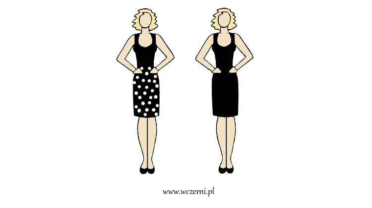 szerokie ramiona w dobrze dopasowanym wzorze sukienki