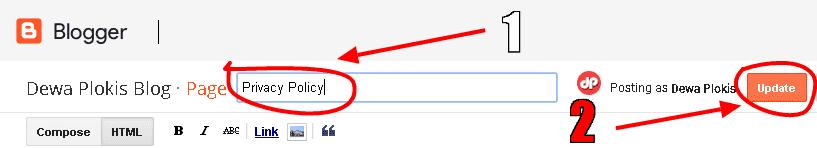 Cara Membuat Halaman Privacy Policy di Blogspot