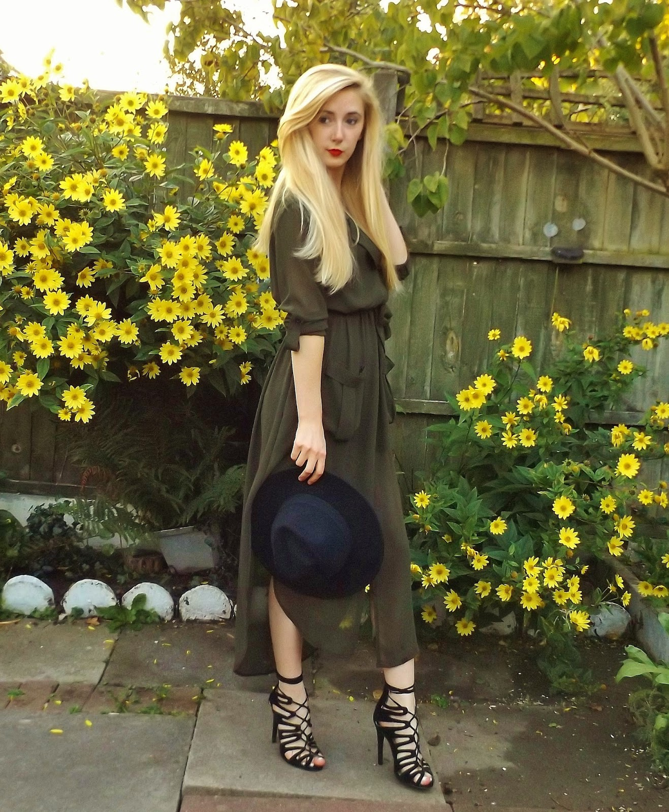 Khaki Maxi Shirt Dress