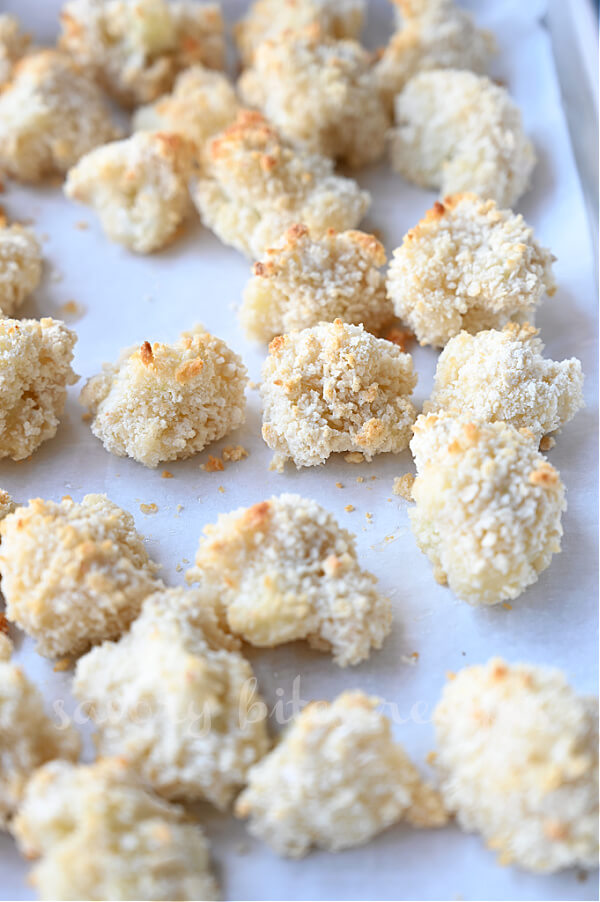 baked cauliflower florets on a tray