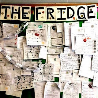 "Displaying Student Work on ""The Fridge"" classroom bulletin board"