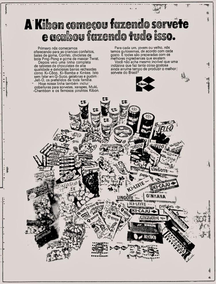 Anúncio antigo da Kibon promovendo sua linha de sorvetes em 1973