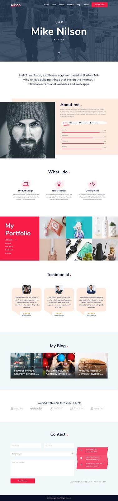 Nilson - Multipurpose Personal Resume & Portfolio Template