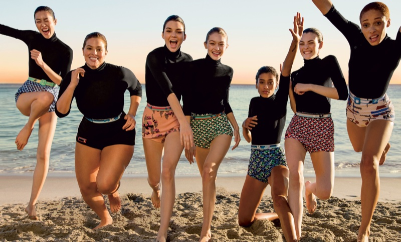 Liu Wen, Ashley Graham, Kendall Jenner, Gigi Hadid, Imaan Hammam, Adwoa Aboah and Vittoria Ceretti wear Prada turtlenecks and shorts. Liu wears Miu Miu shorts