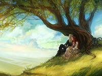 Любовники прячутся за деревом.