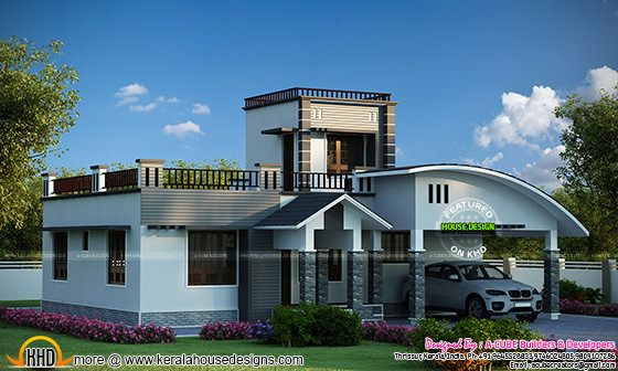 One floor house with double height area
