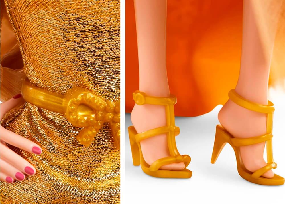 Золотистые туфельки для куклы барби