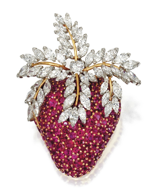 gold+diamond+ruby+strawberry+brooch+schl