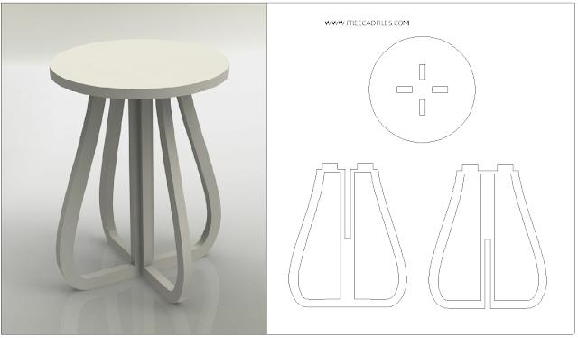 Laser Cut Stool Furniture Plans DXF File