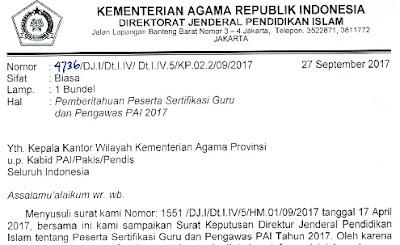 PESERTA SERTIFIKASI GURU DAN PENGAWAS PENDIDIKAN AGAMA ISLAM PADA SEKOLAH TAHUN 2017